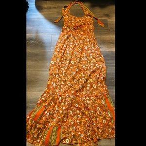 Orange Floral Bohemian Maxi Summer Dress